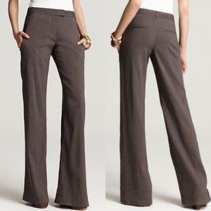 THEORY Emery Crunch Linen Wide Leg Pants Brown 0